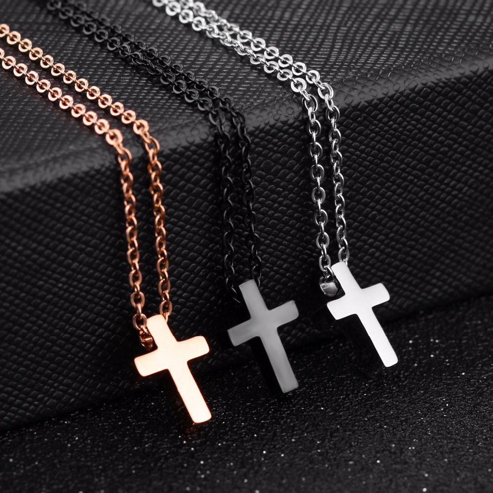 JHSL Brand Mini Samll Women Cross Charm Pendant necklace for girls stainless steel Black rose gold color cute fashion Jewelry