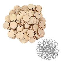 100 pçs discos de madeira redondos com furos calendário tag lembrete registro chip de madeira placa de aniversário tags 100 pçs anéis de ferro