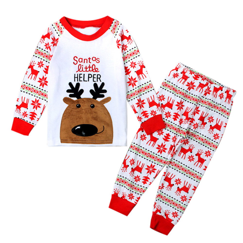 1Set Infant Baby Boys Girls Kids Clothes Vetement Enfant Baby Set Christmas Deer T-shirt +Pants Outfits Children Clothing Set
