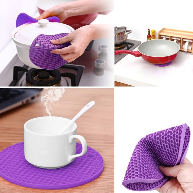 WALFOS 1 piece thick Non Slip heat Resistant Hot Pads Multipurpose Silicone Pot Holders, Trivets, Jar Openers, & Spoon Rests