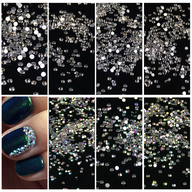 3a55ed1e37 Aliexpress.com : Buy 1440pcs Mix 8 Size Glass Crystal AB Rhinestones Flat  Back Round Nail Art Stones Non Hotfix Clear Strass Crystals for DIY from ...