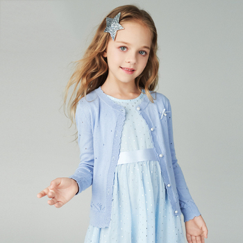 Girls' cardigan sweaters air conditioning sweaters small jackets knitting shirts spring and summer thin mid-childhood