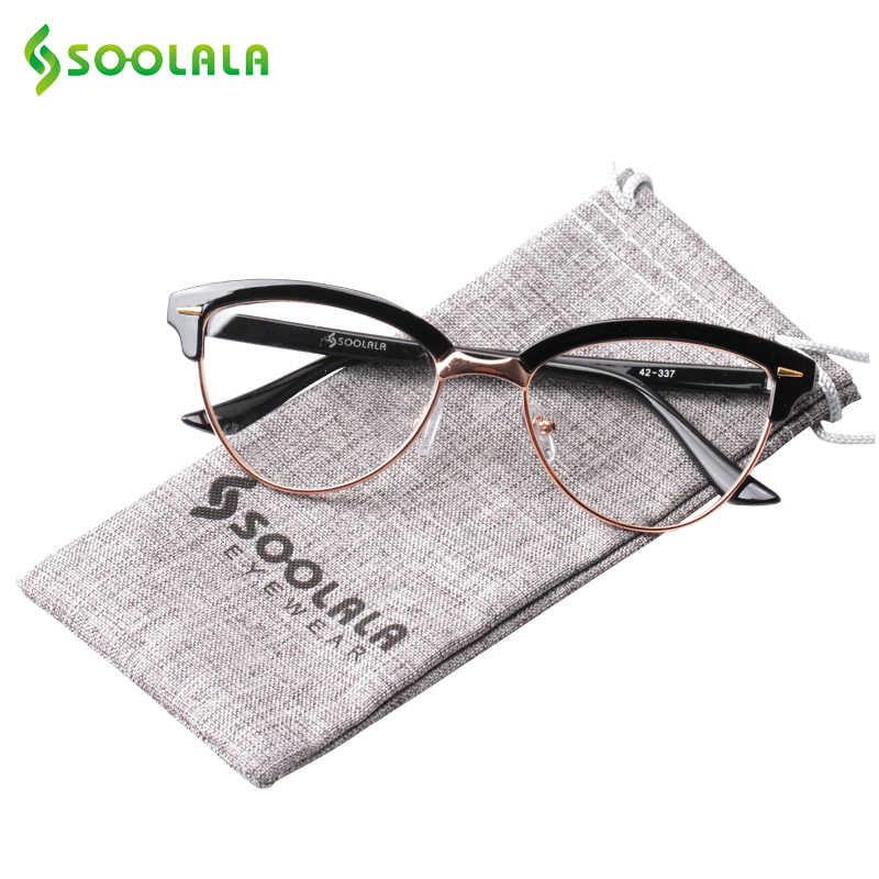 cd08aa44aac0 ... SOOLALA Semi-rimless Cat Eye Reading Glasses Women Men Magnifying  Eyeglasses Presbyopia Reading glasses + ...
