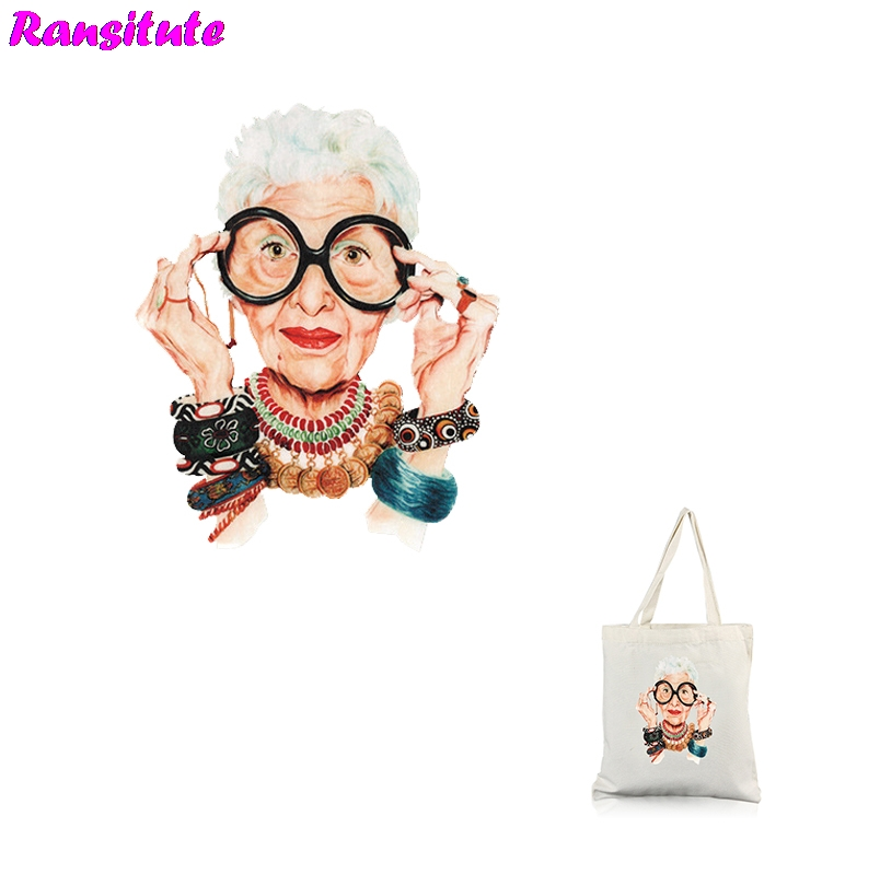 Ransitute R322 Fashion Granny DIY Clothes Stickers Patch Couple T-shirt A Grade Powder Thermal Transfer Decoration Hot Map