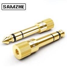 """SAMZHE аудио адаптер 6,5 мм 1/4 """"штекер в 3,5 мм 1/8"""" Женский Джек стерео затычка разъема для гарнитуры для микрофона электрическое пианино"""