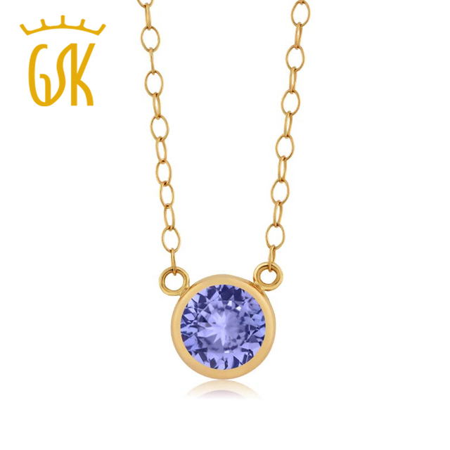 GemStoneKing 0.46 Ct Redondo Azul Tanzanita Colgante 14 K Oro Amarillo Collar de la Mujer Joyería de La Vendimia