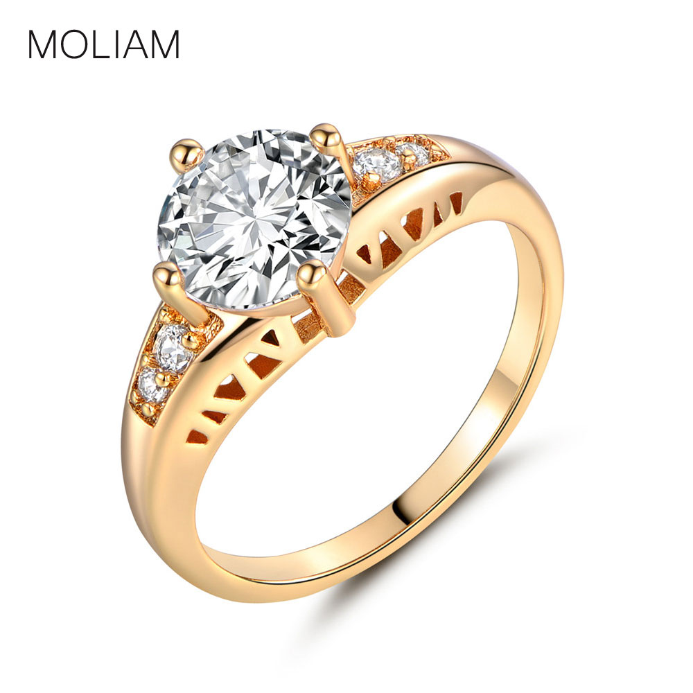 MOLIAM Charm Shiny Accessory Rings Silver/Gold-Color Cubic Zirconia Lady Finger Ring Jewelry 5 Colors Available MLR118-MLR122