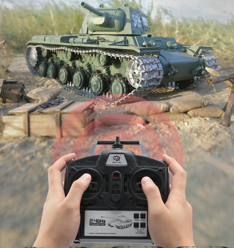 Russia KV-1 Armored Remote Control Battle Tank Model 1:16 Metal/Plastic Turret Rotation Simulation Light Sound Smoke Boy RC Tank