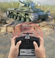Russia KV 1 Armored Remote Control Battle Tank Model 1:16 Metal/Plastic Turret Rotation Simulation Light Sound Smoke Boy RC Tank