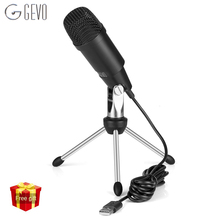 GEVO C-330 USB Microphone Condenser Professional Wired Studio Karaoke Mic For Computer Pc Video Recording Msn With Stand Tripod цены онлайн