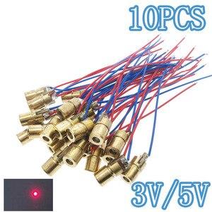 10 шт. лазерные диоды 5 мВт 650 нм диодо Красная точка лазерный диод схема 3 В/5 В 5 мВт 650 нм модуль указатель прицел Медная головка