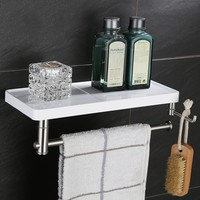Fashion Stainless steel bathrrom towel rack towel holder with hook ABS Plastic shelf,Movable