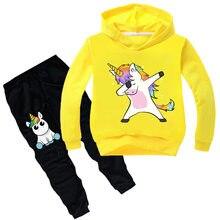 8751765d0e8 2019 Детская одежда Одежда для мальчиков с длинными рукавами и единорогом  комплект детской одежды из 2 предметов для девочек тол.