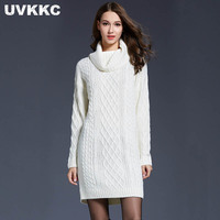 Uvkkc Women Long Sweater Dress Autumn MaxiTurtleneck Pullover Knitted Dresses Thick Tricot Women Winter Sweter Dresses Size 4XL