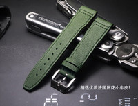 New calf leather product Comfortable 20mm 21mm military green watch strap for Tissot iwc Watchband Men soft Straps