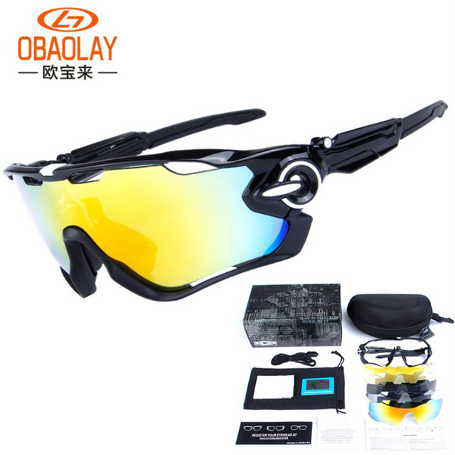 1573b865fe OBAOLAY Outdoor Cycling Sunglasses Polarized Bike Glasses 5 Lenses Mountain  Bicycle UV400 Goggles MTB Sports Eyewear for Unisex