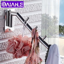 купить BAIANLE Bathroom Stainless Steel Clothes Hook Wall Mount Indoor and Outdoor Rotating Coat Hook Bathroom Accessories дешево