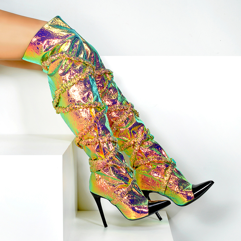 Sexy Punta Estrecha Zapatos Botas Mujer Tacones Palmas Delgada Multi En La Rosa Encima Las Por De Moda Mujeres Único E Otoño Rodilla Invierno waTxTIRq