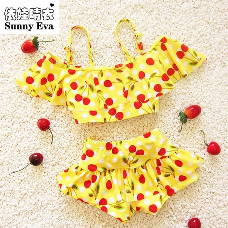 مشمس إيفا الأطفال ملابس السباحة الفتيات الكرز bebek بيكيني طفلة ملابس السباحة الفتيات السباحة المايوه للأطفال الفتيات السباحة