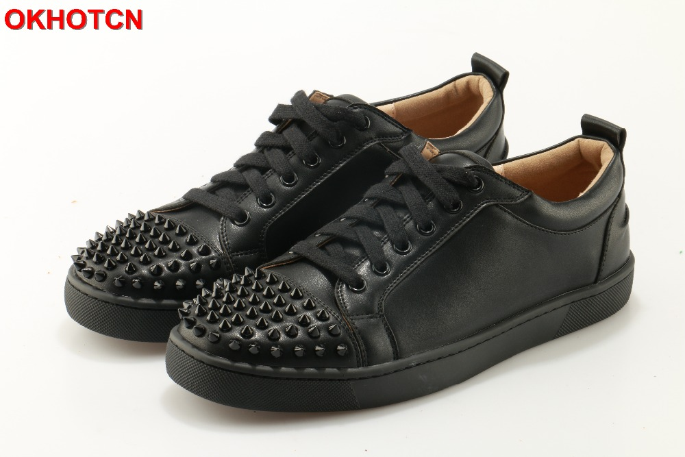 Casual Black Men Sneakers New Arrival Leather Shoes Rivets Round Toe Flats Shoes Plus Size 46 Lace Up Top Quality Zapatos Hombre shoes men fashion men casual shoes plus size 47 genuine leather men flat shoes best quality zapatos hombre lace up chaussure