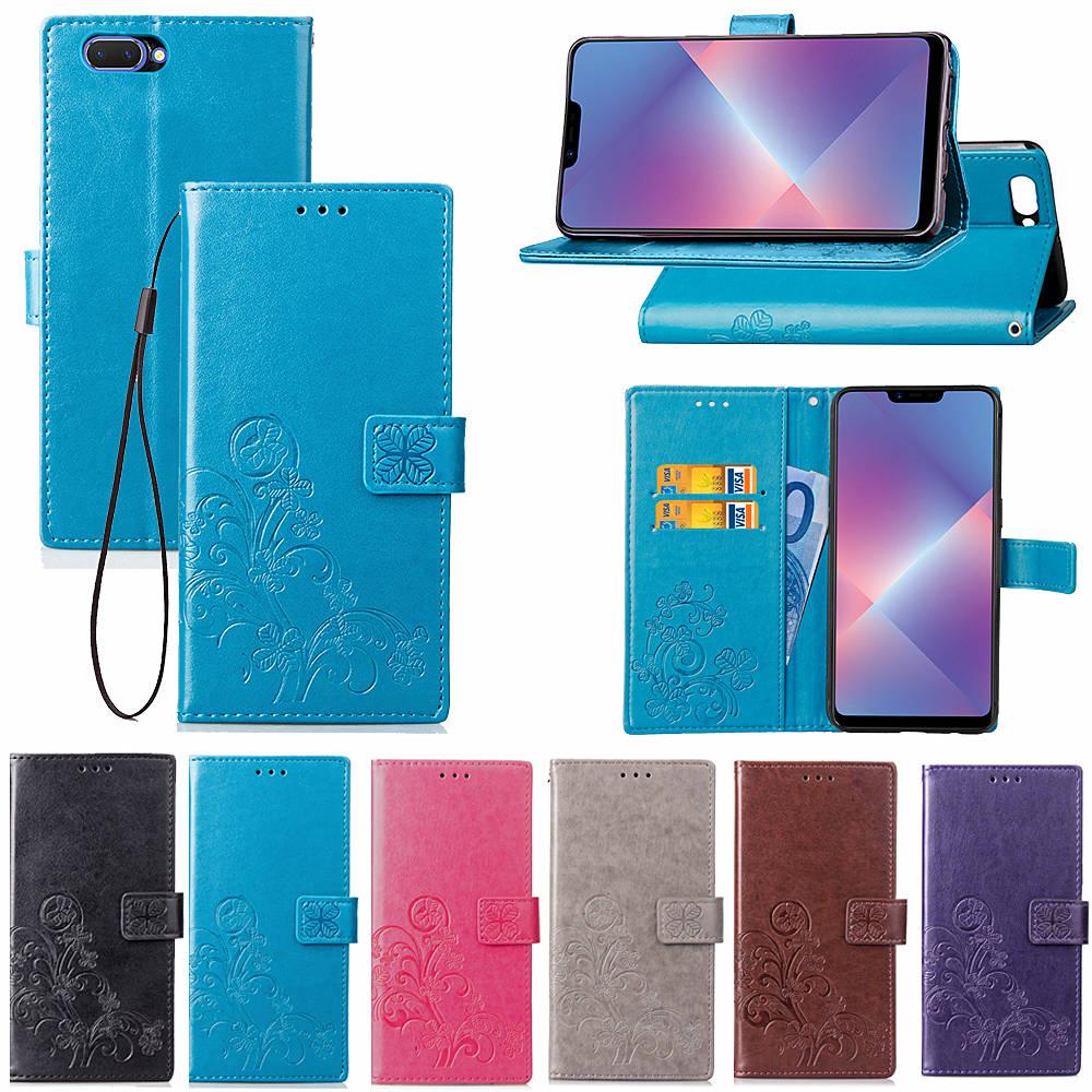 Купить Для OPPO A5 Чехол Флип Роскошный PU кожаный бумажник счастливый клевер шаблон чехол для OPPO A5 смартфон Coque на Алиэкспресс