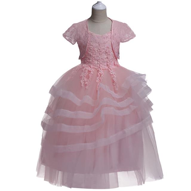 Big Girls Long Style Lace Princess Kids Girls Evening Party Dresses