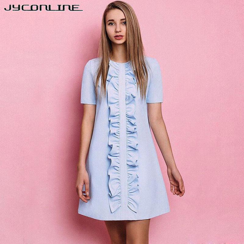 JYConline 우아한 블루 프릴 여름 드레스 여성 짧은 소매 파티 드레스 여성 Vestidos 가운 2017 귀엽다 섹시한 미니 드레스