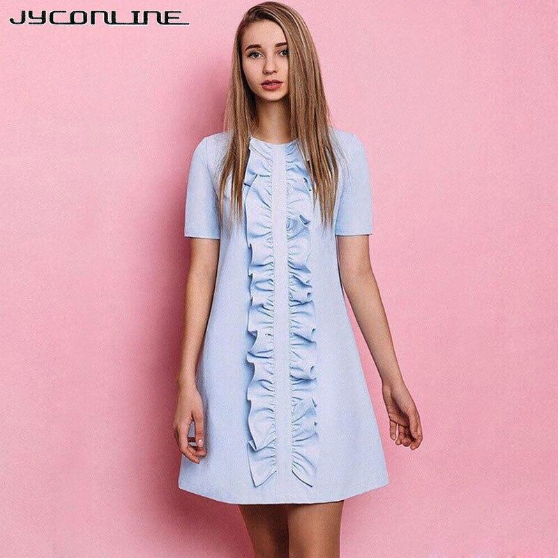 JYConline Elegant Blue Ruffles Summer Dress Women Short Sleeve Party Dresses Female Vestidos Robe 2017 Kawaii Sexy Mini Dresses