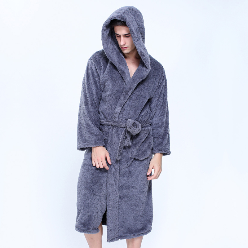 Plus size XXL hooded robes bathrobes for male Winter Keep warm long-sleeved exquisite plush mens dressing gown couples robes