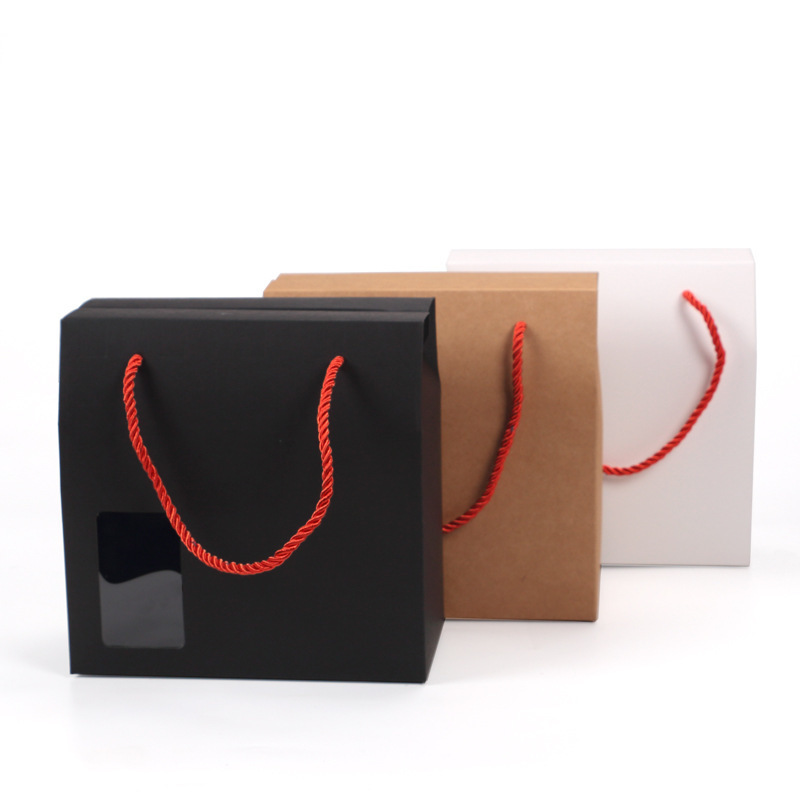 100 Pcs 18x10x18cm Kraft Paper Box With Handle Windows Birthday Wedding Gift Box Candy Packaging Bag Cookies Food Solid Color
