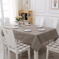 Modern Pure Grey Linen Cotton Cloth Garden Tablecloth Plastic Cover Flowers Printed Table Cloth 130 170CM