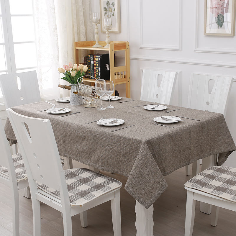 Modern Pure Grey Linen Cotton Cloth Garden Tablecloth Plastic Cover Flowers  Printed Table Cloth 130*