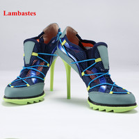 2018 Hot Spring Summer Women Pumps Black Pointed Toe Thin High Heel Women Shoes Sexy Cross tied Air Mesh Cut Out Pumps Mujeres