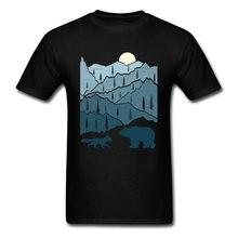 Grande desconto hipster t camisa montanha pôr-do-sol geomertic imagem tshirt urso raposa ficar selvagem em torno do pescoço camiseta homem transporte da gota