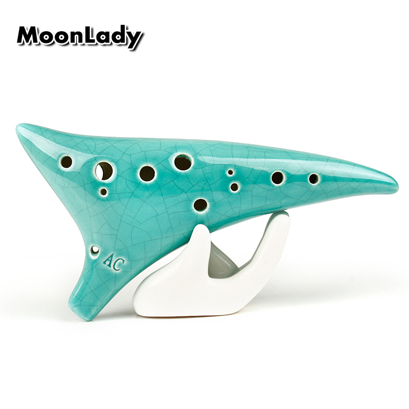 12 Holes Sharp Hole Ocarina Green Ice crack Alto C Music Instruments Chinese High Quality Woodwind Instrument Easy to Learn