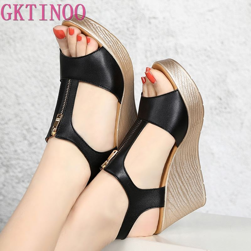 GKTINOO 2019 Wedges Sandals Woman Shoes Platform Sandals Summer Women Shoes Leather Peep Toe Women Sandal Zip Plus SizeGKTINOO 2019 Wedges Sandals Woman Shoes Platform Sandals Summer Women Shoes Leather Peep Toe Women Sandal Zip Plus Size