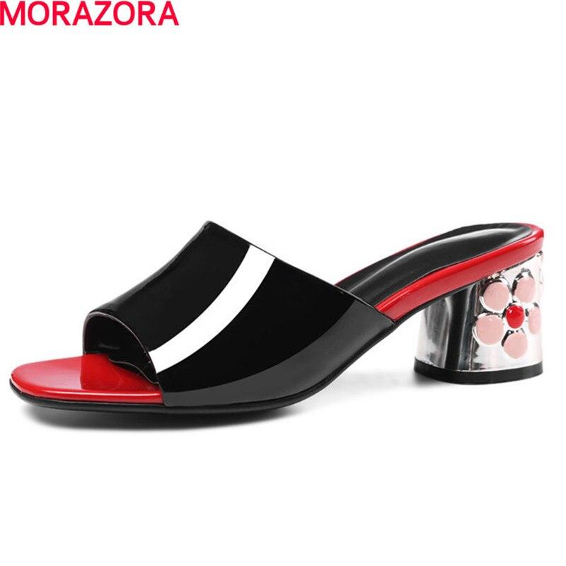 MORAZORA جديد وصول مربع كعوب أحذية 5.5 سنتيمتر الأزياء حزب الزهور الصيف الصنادل جلد البقر النساء أحذية حجم كبير 34  43-في كعب عالي من أحذية على  مجموعة 1