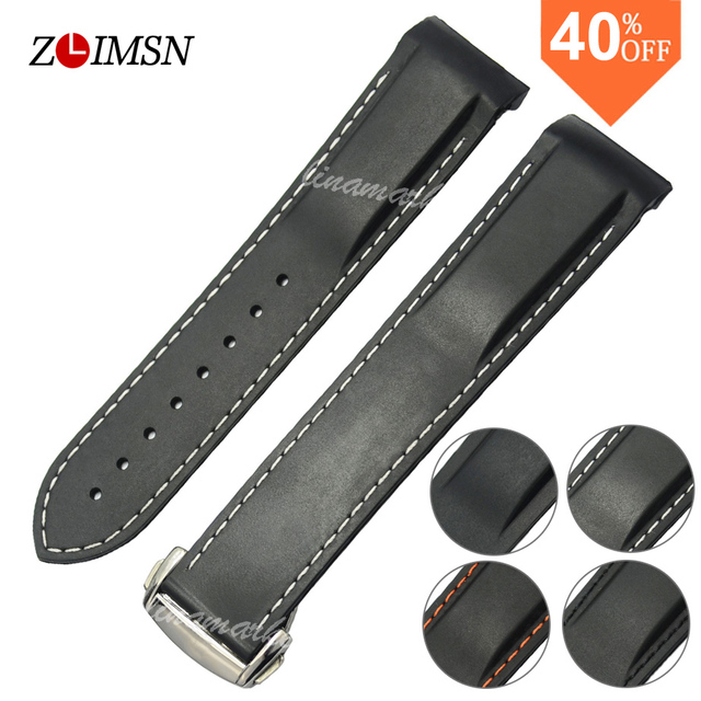 bbee902d7ca ZLIMSN 20mm Black Silver Gold Rose Watchbands Diver Rubber Band Strap With Deployment  Clasp For Planet
