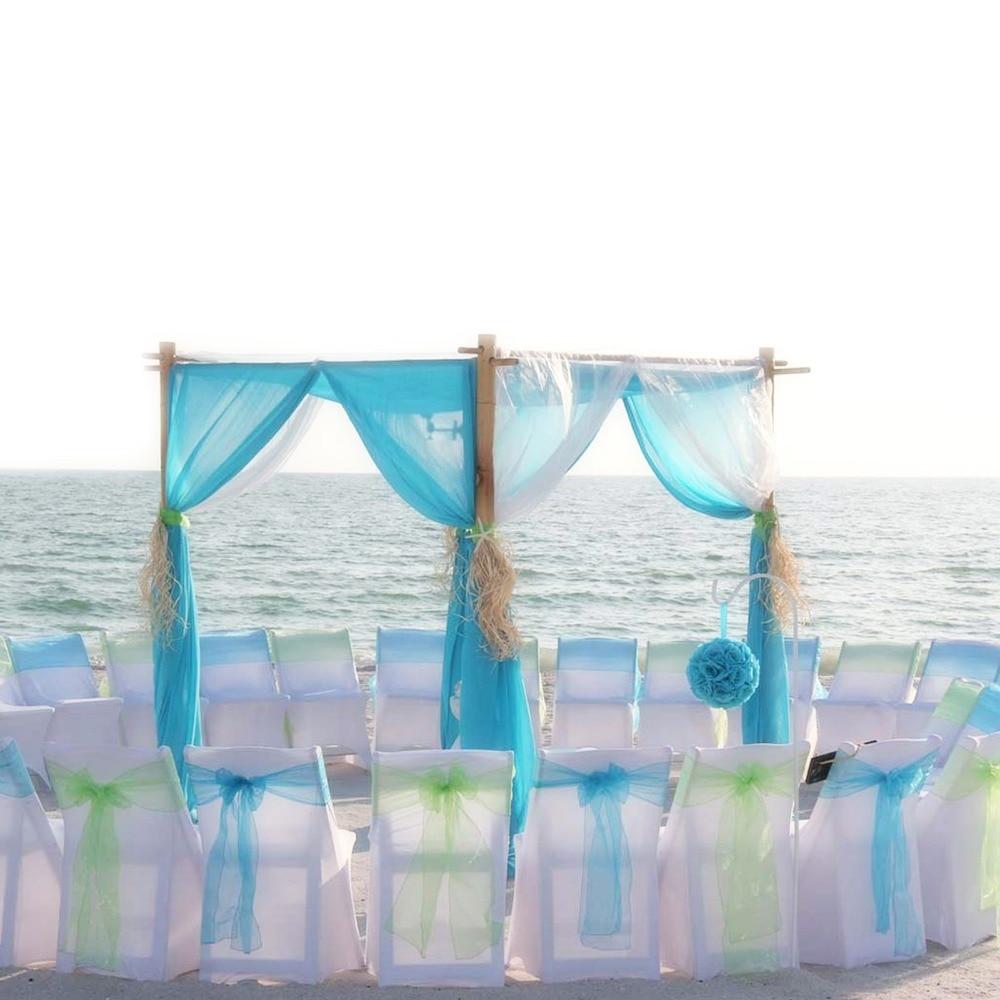 1 Stks 18x275 Cm Organza Stoel Sjerpen Boog Stoel Cover Bands Voor Baby Shower Event Banquet Wedding Party Kerstmis Leveringen Fancy Colors