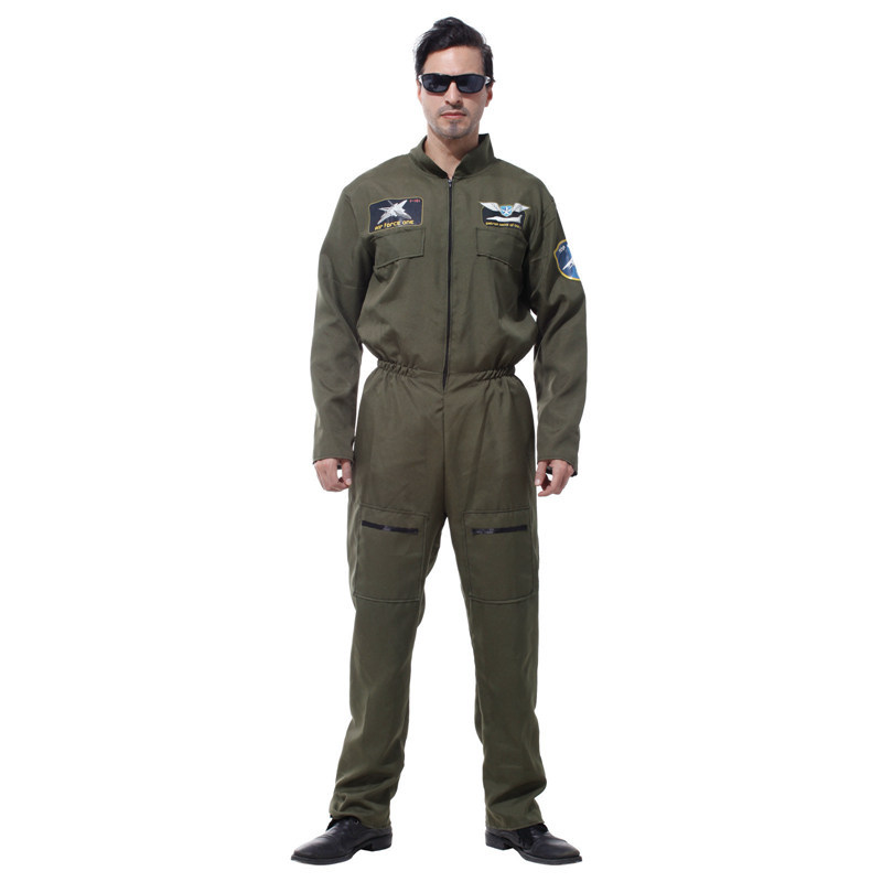 Army Green Male Warrior Special Halloween Costumes Adult Astronauts Air Force Pilot Astronaut Uniforms Costumi da astronauta