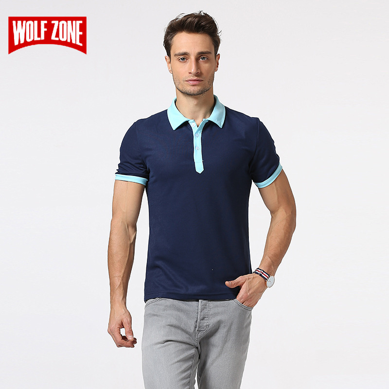 WOLF ZONE Brand Summer Fashion   Polo   Shirt Men Breathable Business Casual Cotton Mens Short Sleeve Solid   Polo   Shirts Clothing