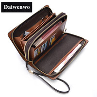 2016 New Brands Clutch Men Wallets Black Brown Luxury Laege Capacity Gift For Male Double Zipper