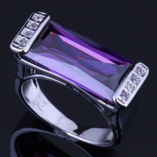 Magic Rectangle Purple Cubic Zirconia White CZ 925 Sterling Silver Ring For Women V0653