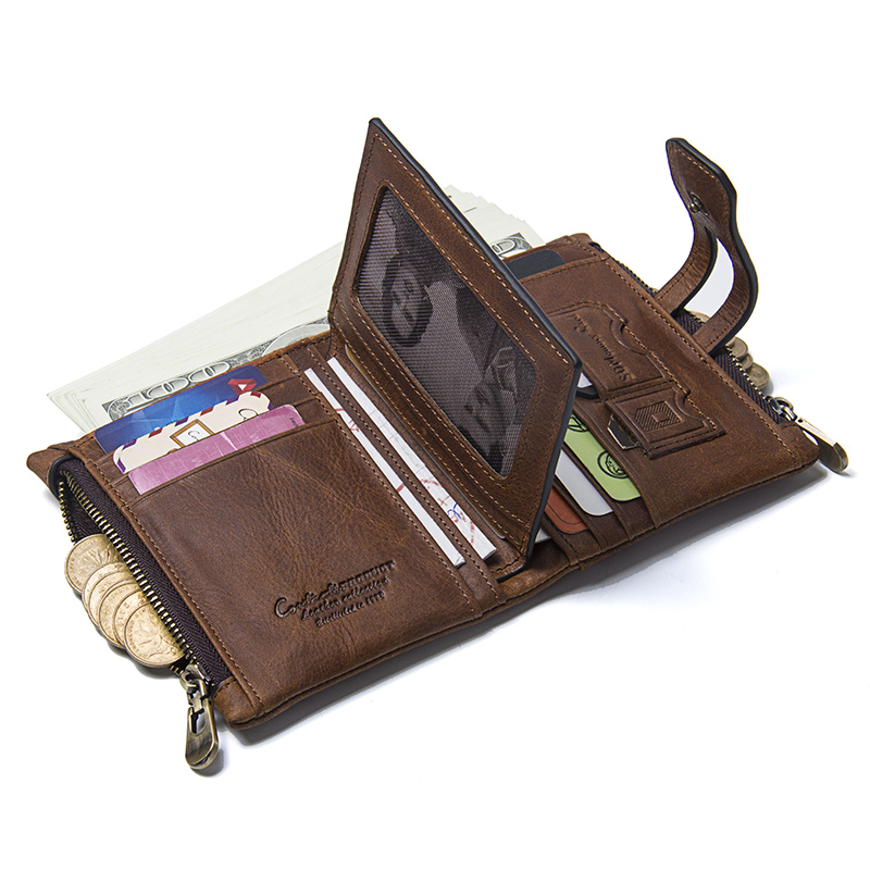 CONTACT'S Wallet Crazy Horse Genuine Leather Double Zipper Hasp Wallets Short Coin Purse With Card Holders Male portomonee Walet 2