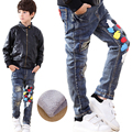 2016 New Brand Kids Fashion Boys Jeans For Winter Warm Thick Pants Baby Boy Jeans DarkBlue Denim Trousers Children Jeans Clothes