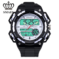 SMAEL Sport LCD Display Army Analog Backlight Quartz Black Rubber Strap Wristwatches Dual Time Alarm Date Mens Watches / WCH0017