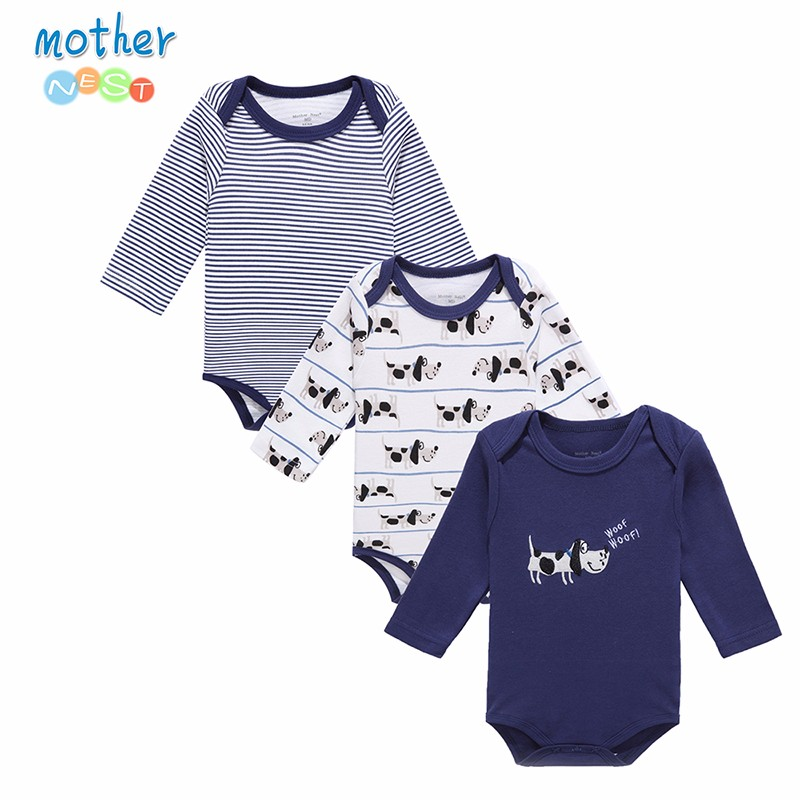 Mother Nest 2016 Fashion 3Pcslot Baby Romper Girl Boy Next Baby Clothing DOG Printed Baby Clothes Newborn Cotton Baby Rompers