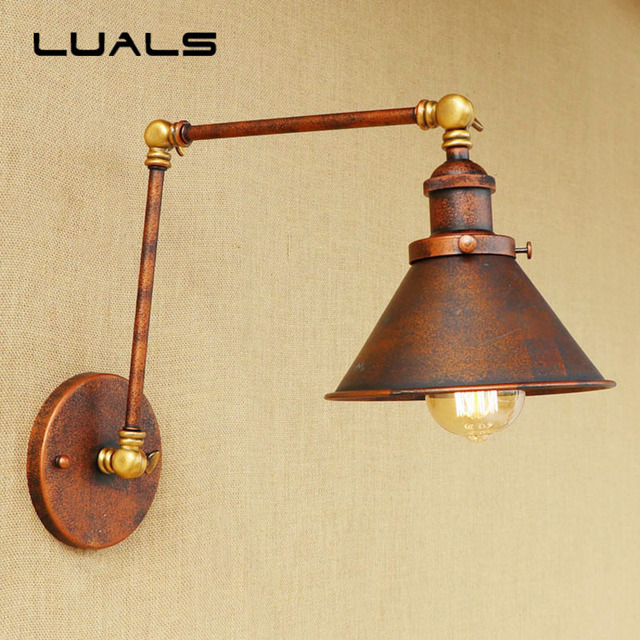 Loft Vintage Wall Lamp Iron Art Adjustable Metal Rusty Color Edison ...