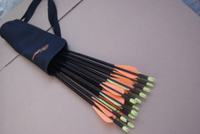 Free shipping 12 pcs 30″ fiberglass arrow insert removable target point hunt shoot + 1 piece arrow quiver bag archery bow