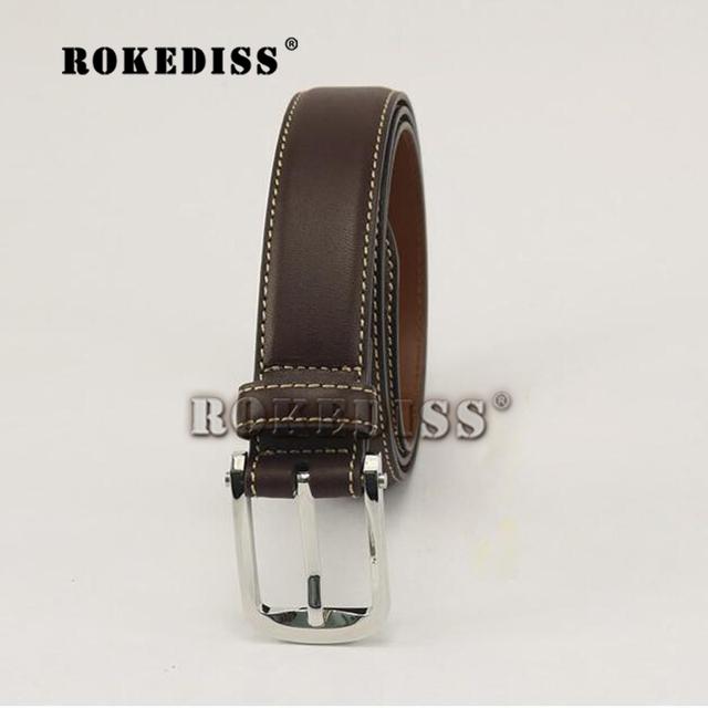 Los hombres El Nuevo café color de Cuero pantalones vaqueros de Cintura de Los Hombres de Negocios de Ocio de moda Salvaje en forma de D Hebilla de la aleación cinturón de regalo F075